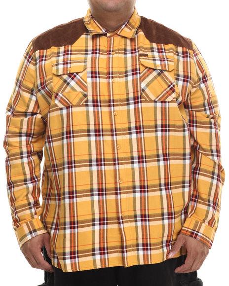Parish - Men Brown,Yellow Plaid Woven L/S Button-Down (B&T)