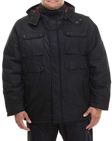 Coogi - Men Black Detachable Hoodie Twill Parka Jacket - $130.99