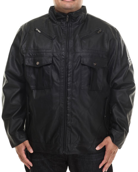 Coogi - Men Black Washed Faux Leather Jacket (B&T)