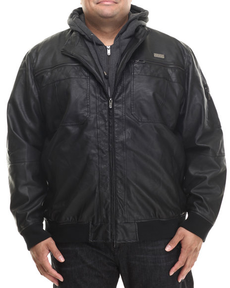 Coogi - Men Black Faux Leather Jacket W/ Attached Fleece Hoody (B&T)