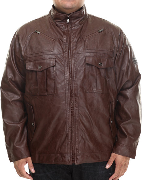 Coogi - Men Brown Washed Faux Leather Jacket (B&T)