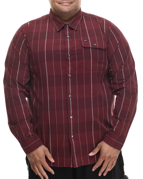 Lrg - Men Maroon Research Collection Plaid L/S Button-Down (B&T)