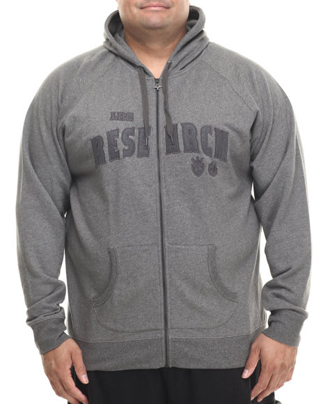 Lrg - Men Charcoal Research Collection Zip Up Hoodie (B&T)