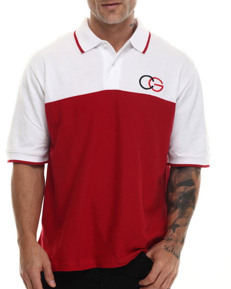 Coogi - Men Red Coogi Pique Color Block Polo Shirt