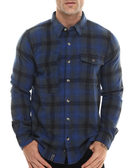 Lrg - Men Blue Buckshot L/S Button-Down