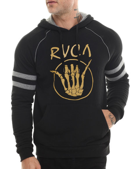 Rvca - Men Black Shaka Bones Pullover Hoodie