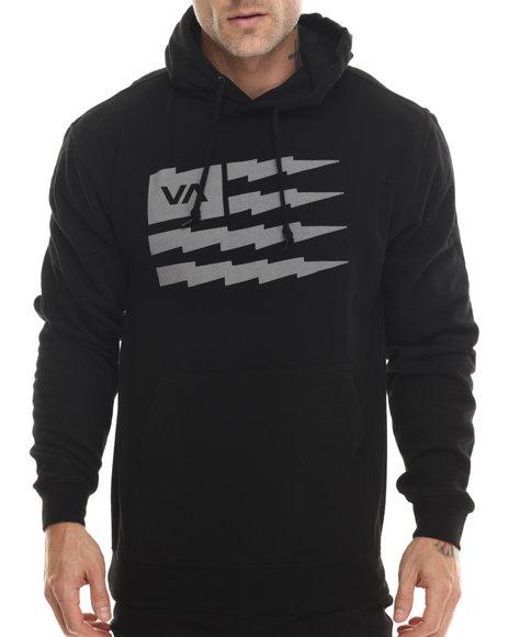 Rvca - Men Black Flag Bolt Fleece Pullover Hoodie