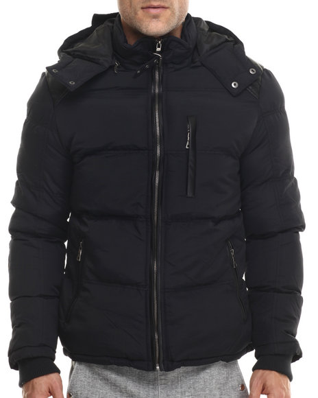 Buyers Picks - Men Black Marqt Faux Leather - Trimmed Hooded Coat