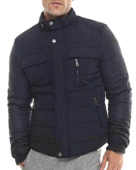 Ur-ID 200046 Buyers Picks - Men Navy Marqt Quilted Two - Toned Nylon Jacket