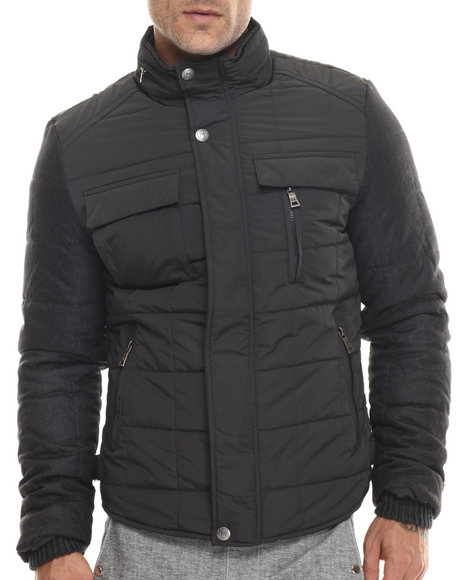 Buyers Picks - Men Grey Marqt Quilted Two - Toned Nylon Jacket