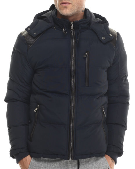 Buyers Picks - Men Navy Marqt Faux Leather - Trimmed Hooded Coat