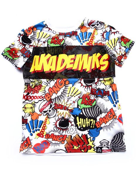 Akademiks - Boys White All Over Comic Print Tee (4-7)