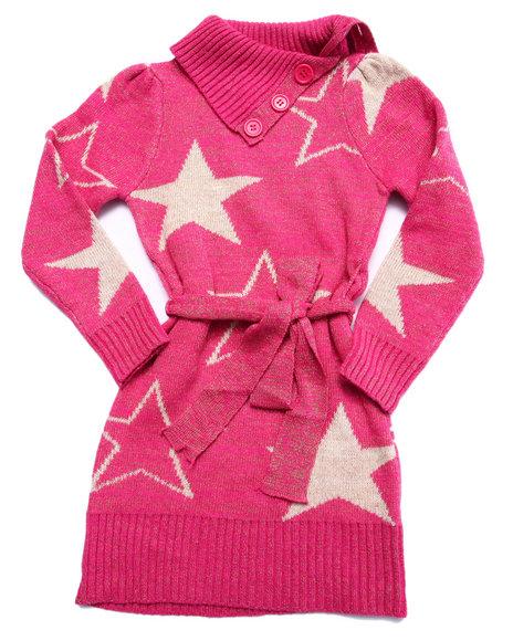 Dollhouse - Girls Pink Star Peplum Sweater Dress (4-6X)