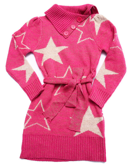 Dollhouse - Girls Pink Star Sweater Dress (4-6X)