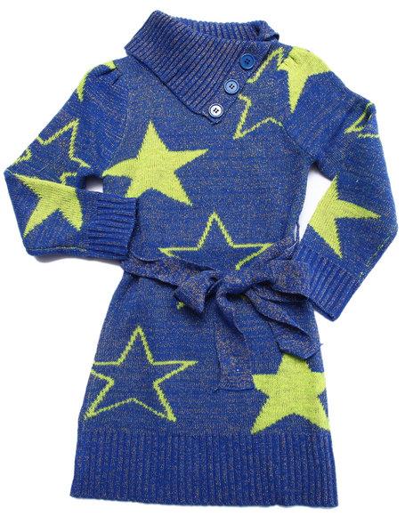 Dollhouse - Girls Blue Star Peplum Sweater Dress (4-6X)
