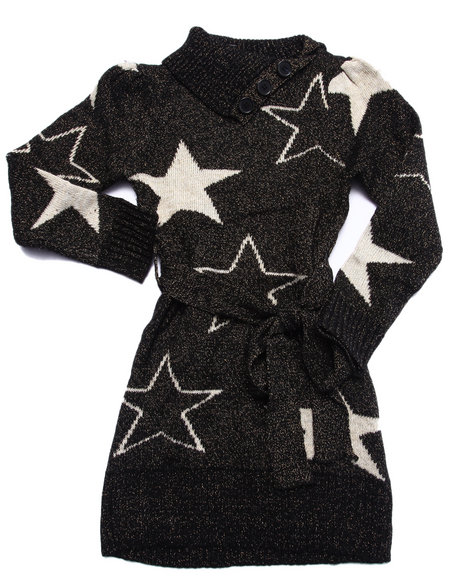 Dollhouse - Girls Black Star Sweater Dress (4-6X)