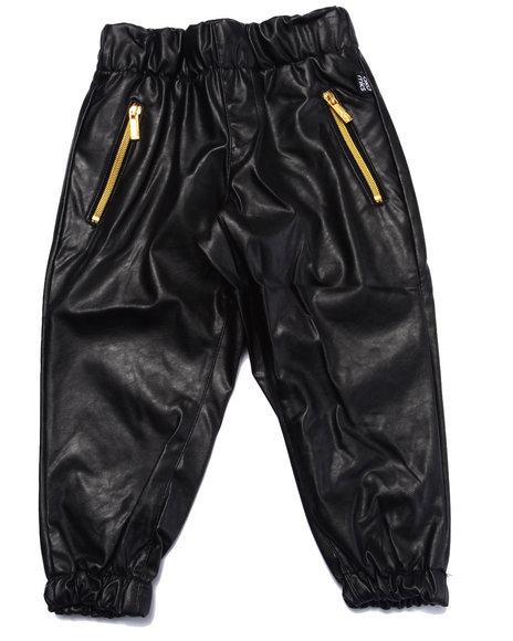 Akademiks - Boys Black Faux Leather Jogger (2T-4T)