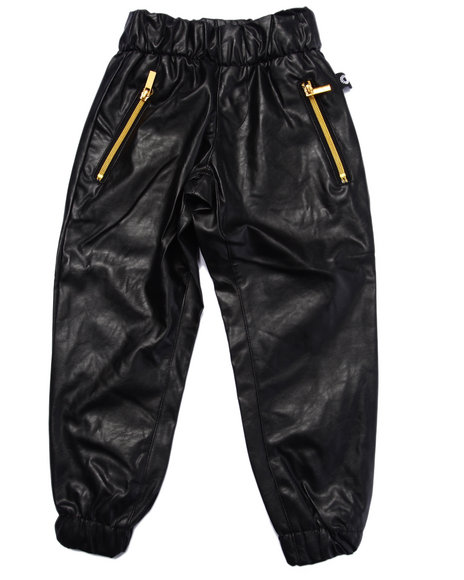 Akademiks - Boys Black Faux Leather Jogger (4-7)
