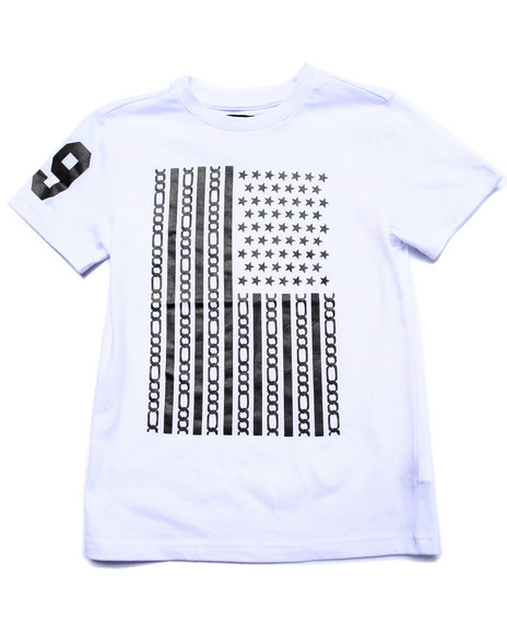 Akademiks - Boys White Reflective Flag Tee (8-20) - $27.99