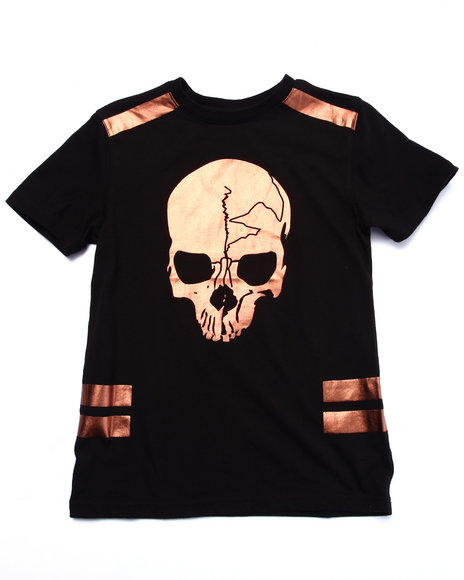 Akademiks - Boys Black Gold Skull Tee (8-20)