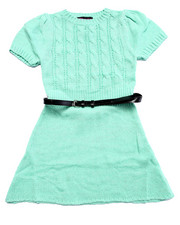 Girls - BELTED CABLE KNIT SWEATER DRESS (7-16)