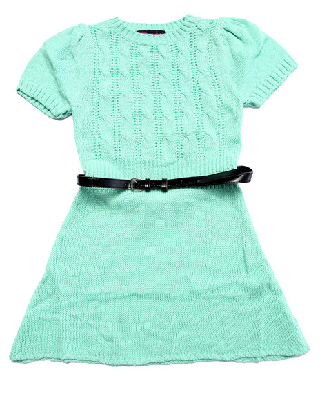 Dollhouse - Girls Green Belted Cable Knit Sweater Dress (7-16) - $20.99