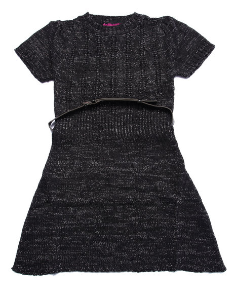 Dollhouse - Girls Charcoal Belted Cable Knit Sweater Dress (7-16) - $17.99