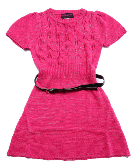 Dollhouse - Girls Pink Belted Cable Knit Sweater Dress (7-16) - $13.99