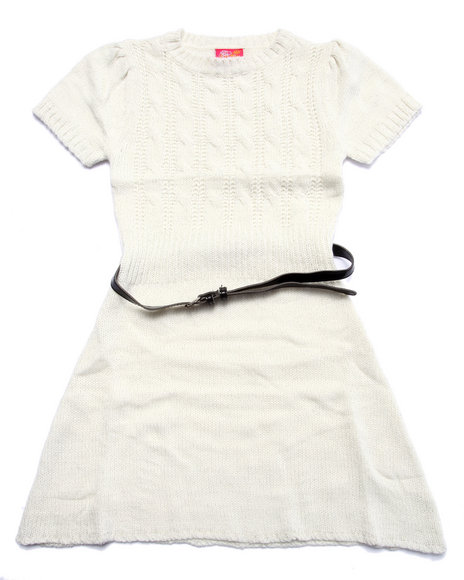 Dollhouse - Girls White Belted Cable Knit Sweater Dress (7-16)
