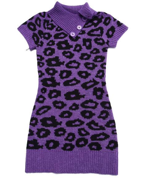 Dollhouse - Girls Purple Animal Jacquard Sweater Dress (7-16)