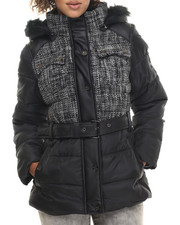 COOGI - Tweed & Nylon Belted Puffer Jacket w/ Faux Fur Trim