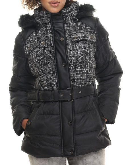 Coogi - Women Black,White Tweed & Nylon Belted Puffer Jacket W/ Faux Fur Trim - $36.99