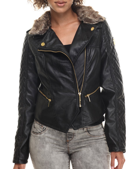 Coogi - Women Black Quilted Faux Leather Moto Jacket W/ Detachable Faux Fur Collar - $45.99