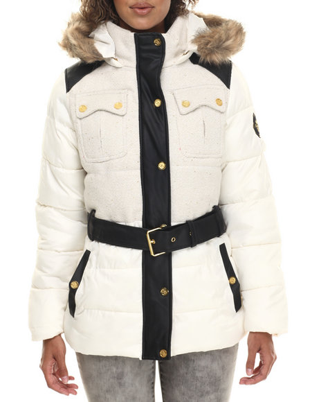 Coogi - Women Ivory Tweed & Nylon Belted Puffer Jacket W/ Faux Fur Trim