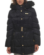 Outerwear - Cinched Waist Puffer Jacket w/ Faux Fur Trim