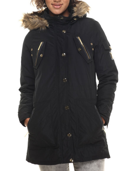 Rocawear - Women Black Detachable Faux Fur Hooded Parka