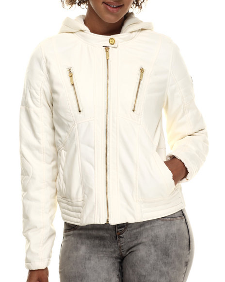 Coogi - Women Ivory Faux Leather Jacket W/ Detachable Fleece Hood