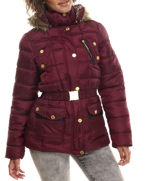 Rocawear - Women Maroon Detachable Hood Belted Puffer Coat