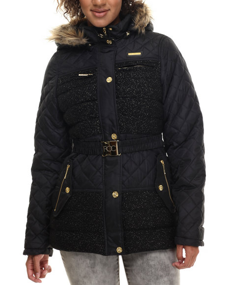 Rocawear - Women Black Tweed Wool Belted Puffer Coat