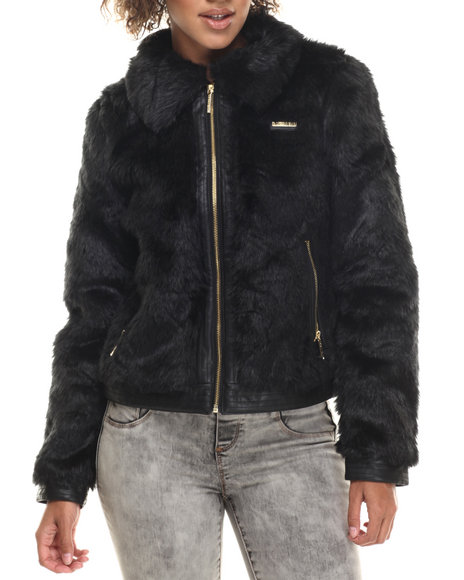 Rocawear - Women Black Faux Fur Jacket