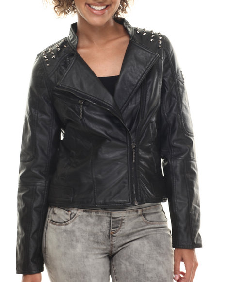 Rocawear - Women Black Vegan Leather Studded Biker Jacket