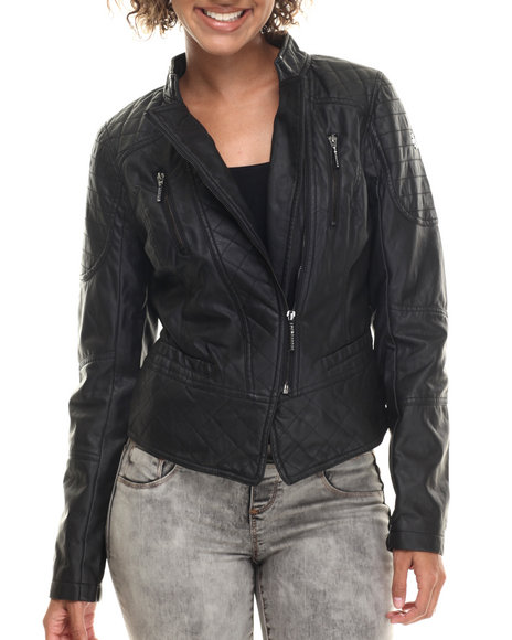 Rocawear - Women Black Vegan Leather Quilted Moto Jacket