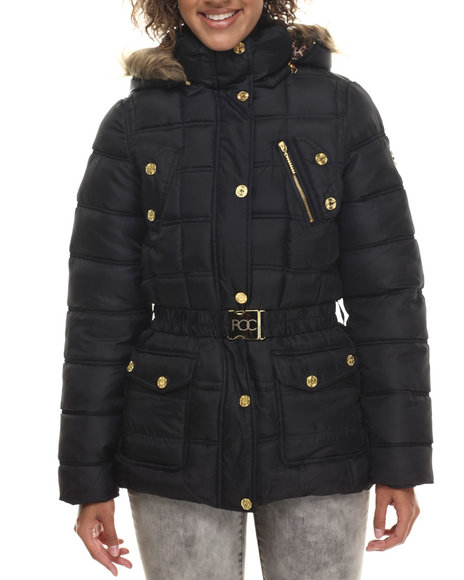 Rocawear - Women Black Detachable Hood Belted Puffer Coat