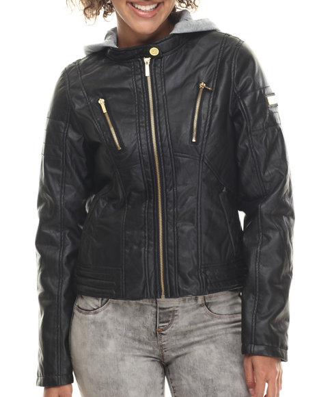 Coogi - Women Black Faux Leather Jacket W/ Detachable Fleece Hood