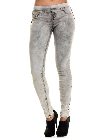 Basic Essentials - Women Grey Pull On Acid Skinny