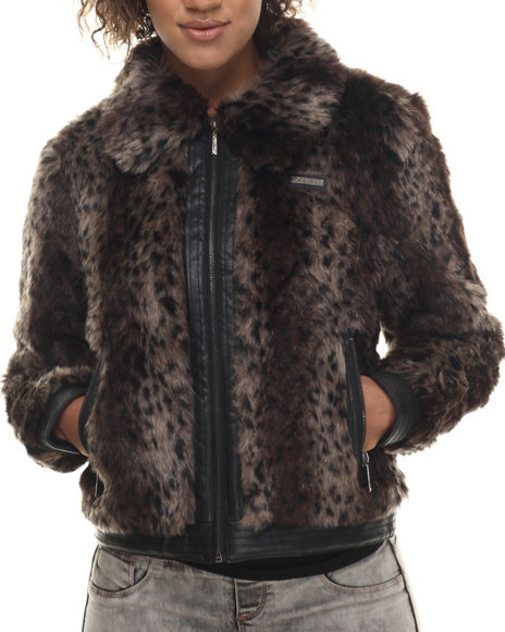 Rocawear - Women Animal Print,Brown Leopard Faux Fur Jacket