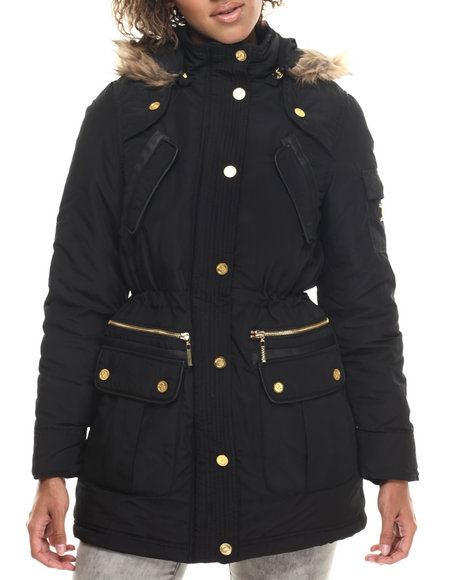 Coogi - Women Black Long Cinched Waist Faux Fur Hooded Parka - $46.99