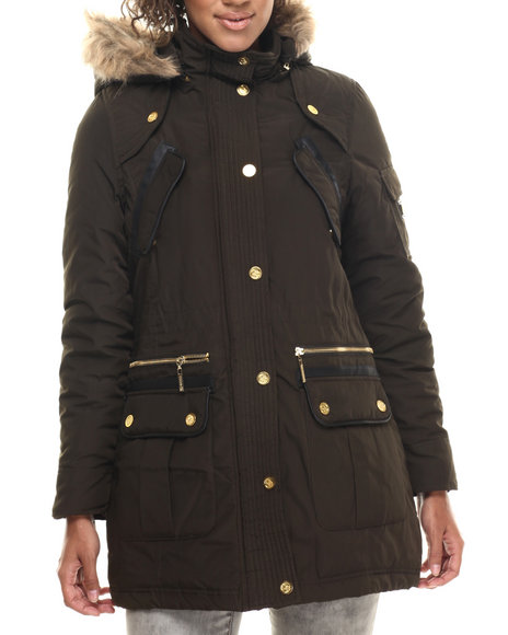 Coogi - Women Olive Long Cinched Waist Faux Fur Hooded Parka