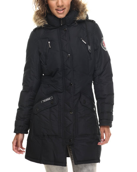 Rocawear - Women Black Hooded Snorkel Puffer Coat