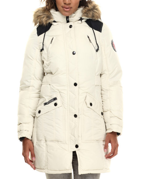 Rocawear - Women Cream Hooded Snorkel Puffer Coat